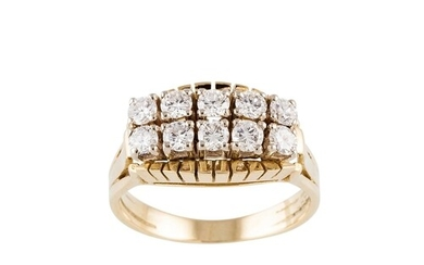 A MID 20TH CENTURY TWO ROWED DIAMOND RING, the brilliant cut...