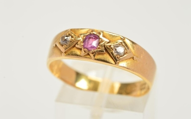 A MID VICTORIAN 18CT GOLD RUBY AND DIAMOND RUBY RING, design...