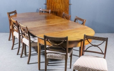 A Mahogany D-End Extending Dining Table and a Set...