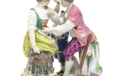 A Meissen Porcelain Figure Group, late 19th/early 20th century, modelled...