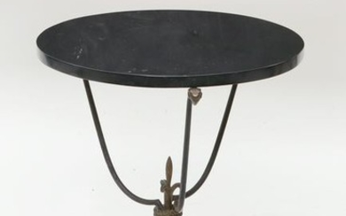 A Neoclassical style brass and wrought iron table
