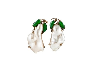 A PAIR OF BAROQUE PEARL AND JADEITE EARRINGS, clip on fittin...