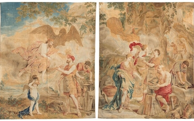 A PAIR OF BRUSSELS MYTHOLOGICAL TAPESTRIES, CIRCA 1718-1745, PROBABLY BY URBAN AND DANIEL LEYNIERS AND HENDRIK REYDAMS THE YOUNGER, AFTER DESIGNS BY JAN VAN ORLEY AND AUREL AUGUSTIN COPPENS