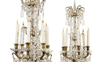 A PAIR OF REGENCE STYLE GILT BRONZE, CUT-GLASS, AND ROCK CRYSTAL GIRANDOLES, 19TH CENTURY