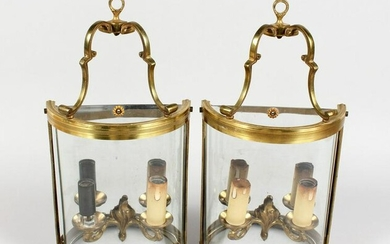 A PAIR OF SEMI-CIRCULAR SHAPED WALL LIGHTS. 7ins