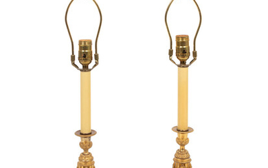 A Pair of Empire Style Gilt Bronze Candlesticks Mounted as Lamps