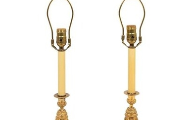 A Pair of Empire Style Gilt Bronze Candlesticks Mounted