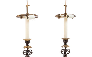 A Pair of French Gilt and Patinated Bronze Figures Mounted as Lamps