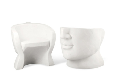 A Pair of Surrealist Style White Marble Garden Chairs