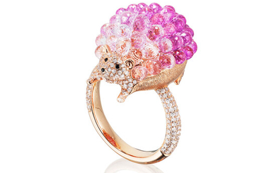 A Pink Sapphire and Diamond 'Hedgehog' Ring