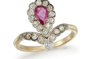 A RUBY AND DIAMOND DRESS RING The pear-shaped ruby
