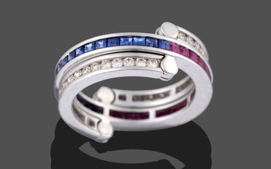 A Ruby, Sapphire and Diamond Eternity 'Flip' Ring, the main...