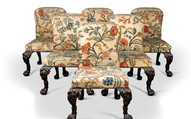 A SET OF SIX GEORGE II MAHOGANY SIDE CHAIRS, 18TH CENTURY, POSSIBLY BY WILLIAM HALLETT