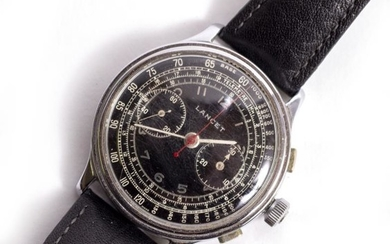 A SWISS LANCET STEEL CASED THREE BUTTON CHRONOGRAPH WRIST...