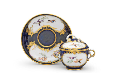 A Sèvres bleu lapis-ground two-handled toilet pot, cover and stand, circa 1756