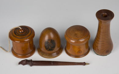 A Victorian Mauchline ware vesta case of domed form, transfer printed with a titled view of the