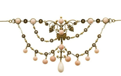 A Victorian coral and seed pearl necklace