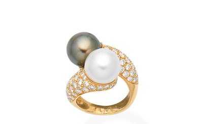 A cultured pearl and diamond crossover ring, by