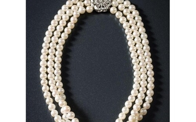 A cultured pearl three-string necklace: the cultured pearls ...