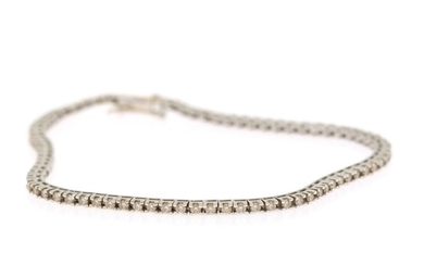 A diamond bracelet set with numerous brilliant-cut diamonds, totalling app. 1.56 ct., mounted in 18k rhodium plated gold. W. 2 mm. L. 19 cm.