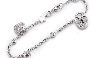 A diamond bracelet with numerous brilliant-cut diamonds weighing a total of app. 0.37 ct., mounted in 18k white gold. L. app. 15 cm. G-H/VS.