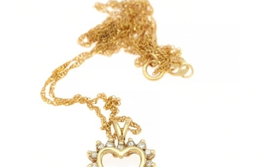 A diamond pendant in the shape of a heart set with numerous diamonds, totalling app. 0.16 ct., mounted in 14k gold. Accompanied by chain of 14k gold. L. 47 cm.