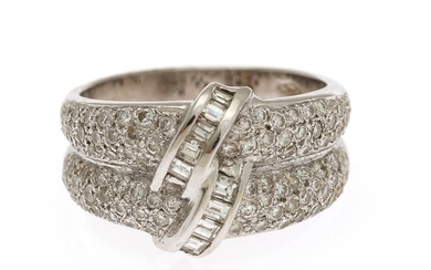 A diamond ring set with numerous brilliant-cut diamonds totalling app. 1.68 ct., mounted in 18k white gold. Size 55.