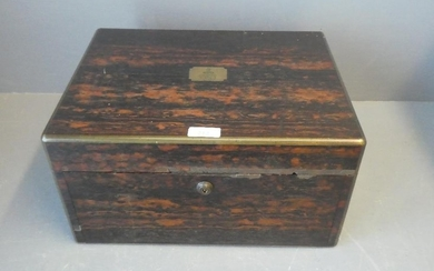 A good quality coromandel writing box fitted with two drawer...