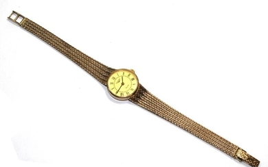 A ladies 9 carat gold Longines wristwatch with an integral b...