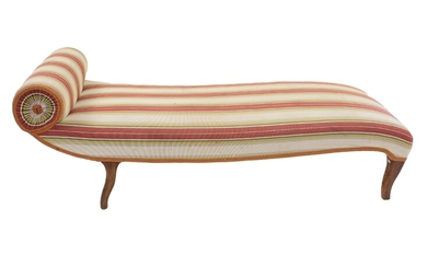 A padded and covered striped fabric dormeuse