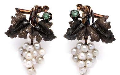 A pair of 18k gold and silver emerald, diamond and pearl earrings