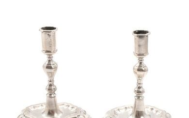 A pair of 18th century German Baroque silver candlesticks. Maker Augustin Peisker, Breslau. H. 14 cm. (2)