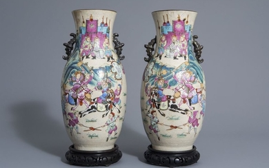 A pair of Chinese Nanking crackle glazed famille...