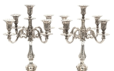 A pair of Danish Baroque style sterling silver candelabras, each with five branches. Maker Tonny Fredberg Østergaard. Filled. H. 53.5 cm. (2)