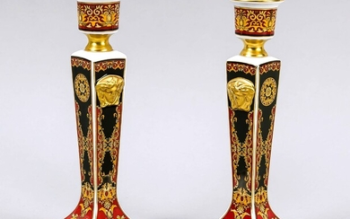 A pair of candle holders, Rosenthal, late 20th century, designed by Versace for Rosenthal, polychrome medusa, rich gilding, H. 21 cm