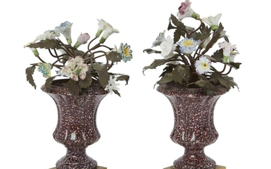 A pair of continental porcelain flower urns, 19th century, each...