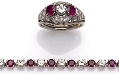 A ruby and diamond bracelet and ring