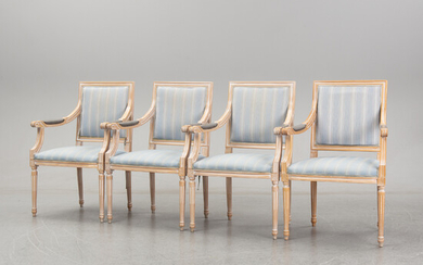 A set of 4 Louis XVI-style chairs from the second half of the 20th century