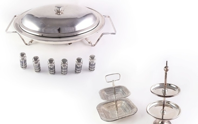 A silver metal tableware lot