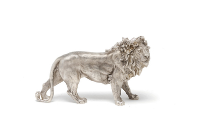 A silver model of a lion