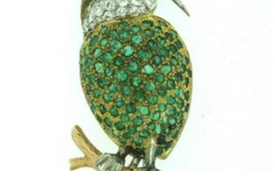ADORABLE C.1970 EUROPEAN EMERALD, DIAMOND RUBY 18K GOLD