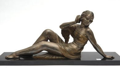 AFTER D.H. CHIPARUS, AN ART DECO STYLE PATINATED SPELTER FIGURE OF A WOMAN HOLDING A CONCH SHELL TO HER EAR, RAISED ON A RECTANGULAR...