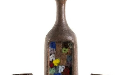 ALDO LONDI - BITOSSI - Bottle and two bookends, 50's