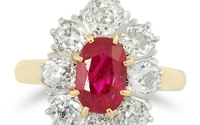 AN ANTIQUE BURMA NO HEAT RUBY AND DIAMOND RING set with