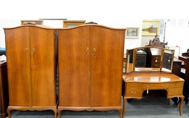 AN INLAID WALNUT THREE PIECE BEDROOM SUITE BY MAPLE & CO...