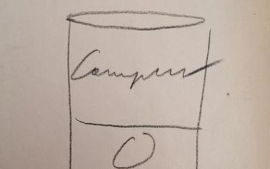 ANDY WARHOL (1928-1987) CAMPBELL SOUP CAN DRAWING. A drawing...