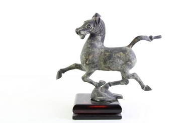 An Archaic Style Horse Figure Mounted to Timber Base (H 33cm)