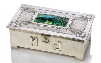 An Art and Crafts plated metal and enamel box with...