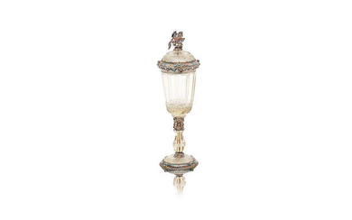 An Austro-Hungarian silver and rock crystal cup and cover