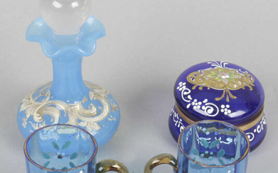 An assortment of items, to include a miniature amethyst coloured glass scent bottle,miniature glass jugs and drinking glasses, etc.